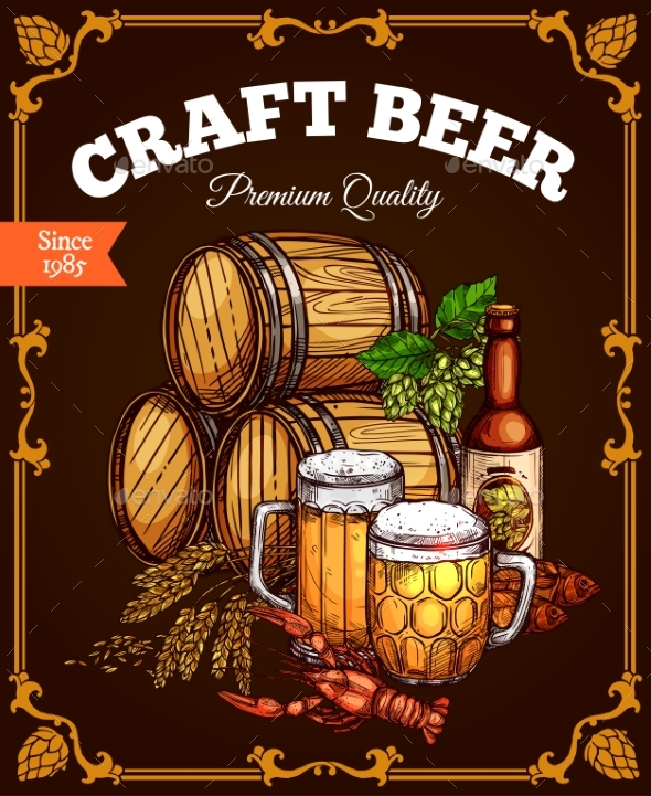 Craft Beer Pub Bar Vector Retro Poster - Food Objects