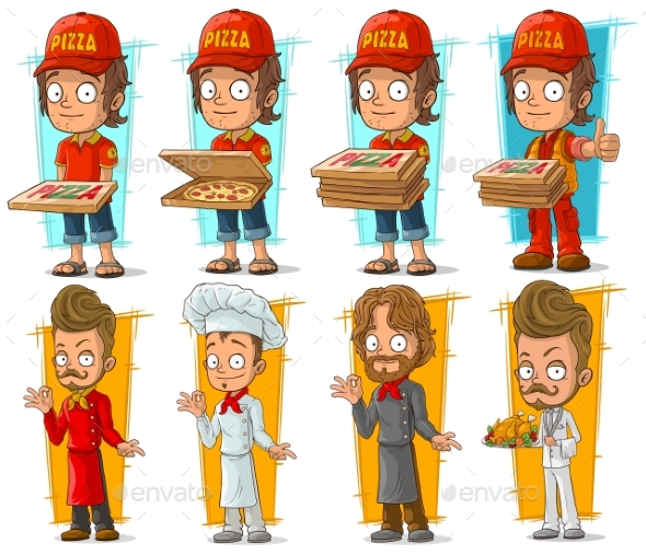 Cartoon Pizza Delivery Boy and Chef Character Set - People Characters