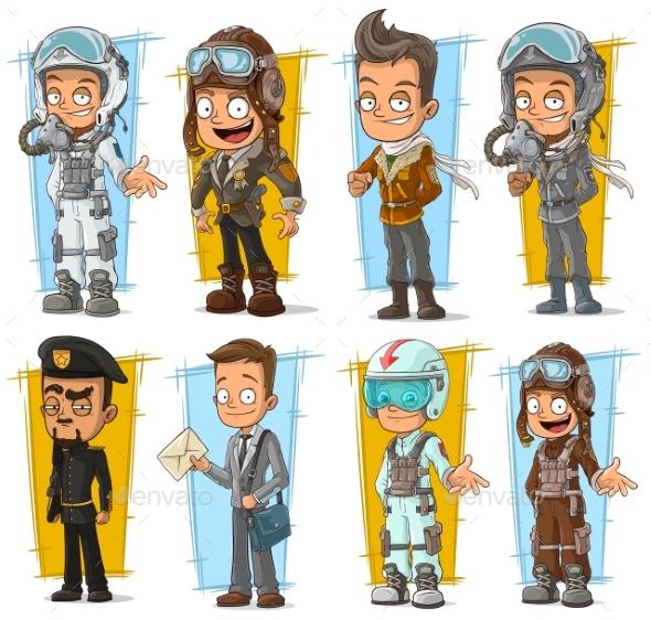 Cartoon Pilot and Postman Character Set - People Characters
