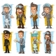 Cartoon Pilot and Postman Character Set - GraphicRiver Item for Sale