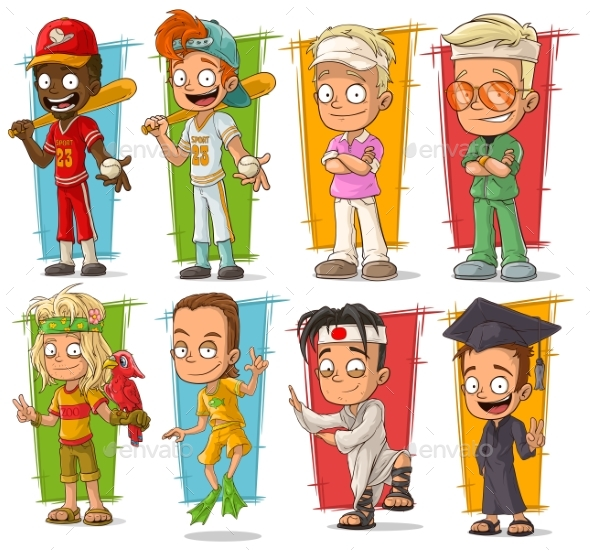 Cartoon Young Sport Player Character Vector Set - People Characters