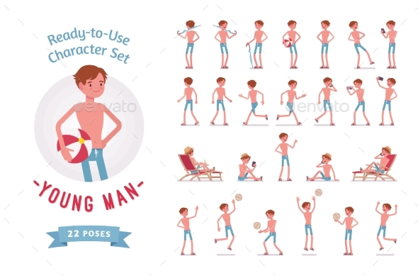 Ready-to-Use Young Man in Swimwear Character Set - People Characters