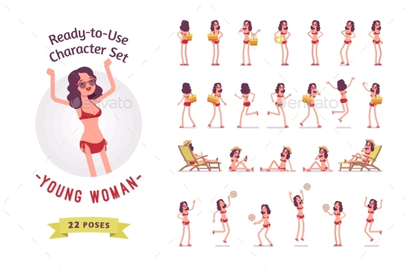 Ready-to-Use Young Woman in Swimwear Character Set - People Characters