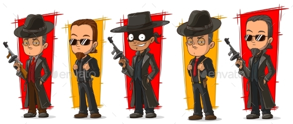 Cartoon Criminal Mafiosi with Gun Character Set - People Characters
