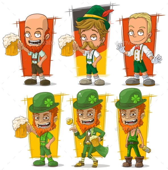 Cartoon Bavarian with Beer Character Vector Set - Miscellaneous Characters