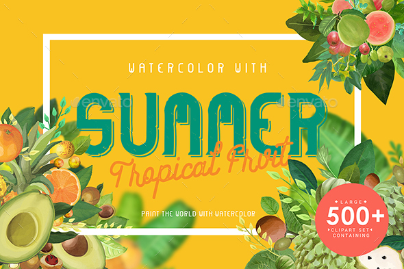 Watercolor with Summer Tropical Fruit - Objects Illustrations