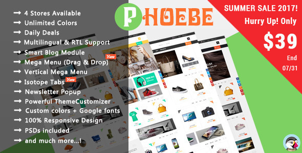 Phoebe - Shopping Cosmetic, Jewelry Responsive Prestashop Theme