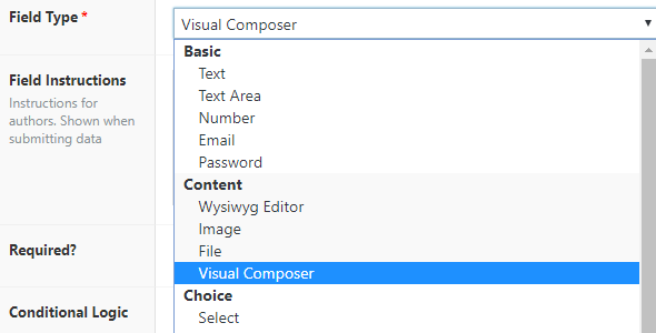 Advanced Custom Fields: Visual Composer Field