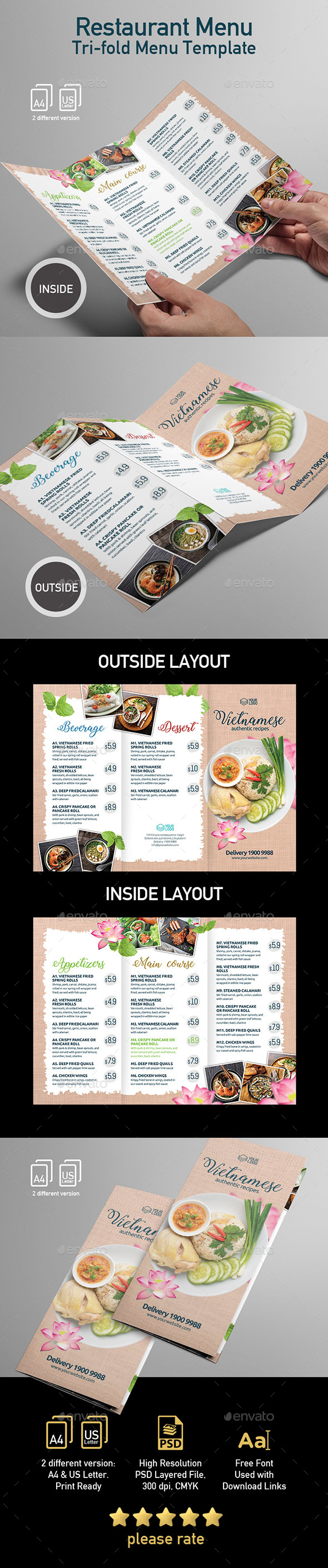 Menu Tri-fold Flyer Template for Vietnamese Restaurant - Flyers Print Templates