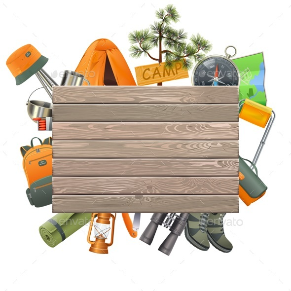 Vector Camping Concept with Wooden Plank - Travel Conceptual