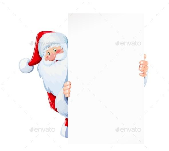 Santa Claus Hold Sheet of Blank Paper Plate - Christmas Seasons/Holidays