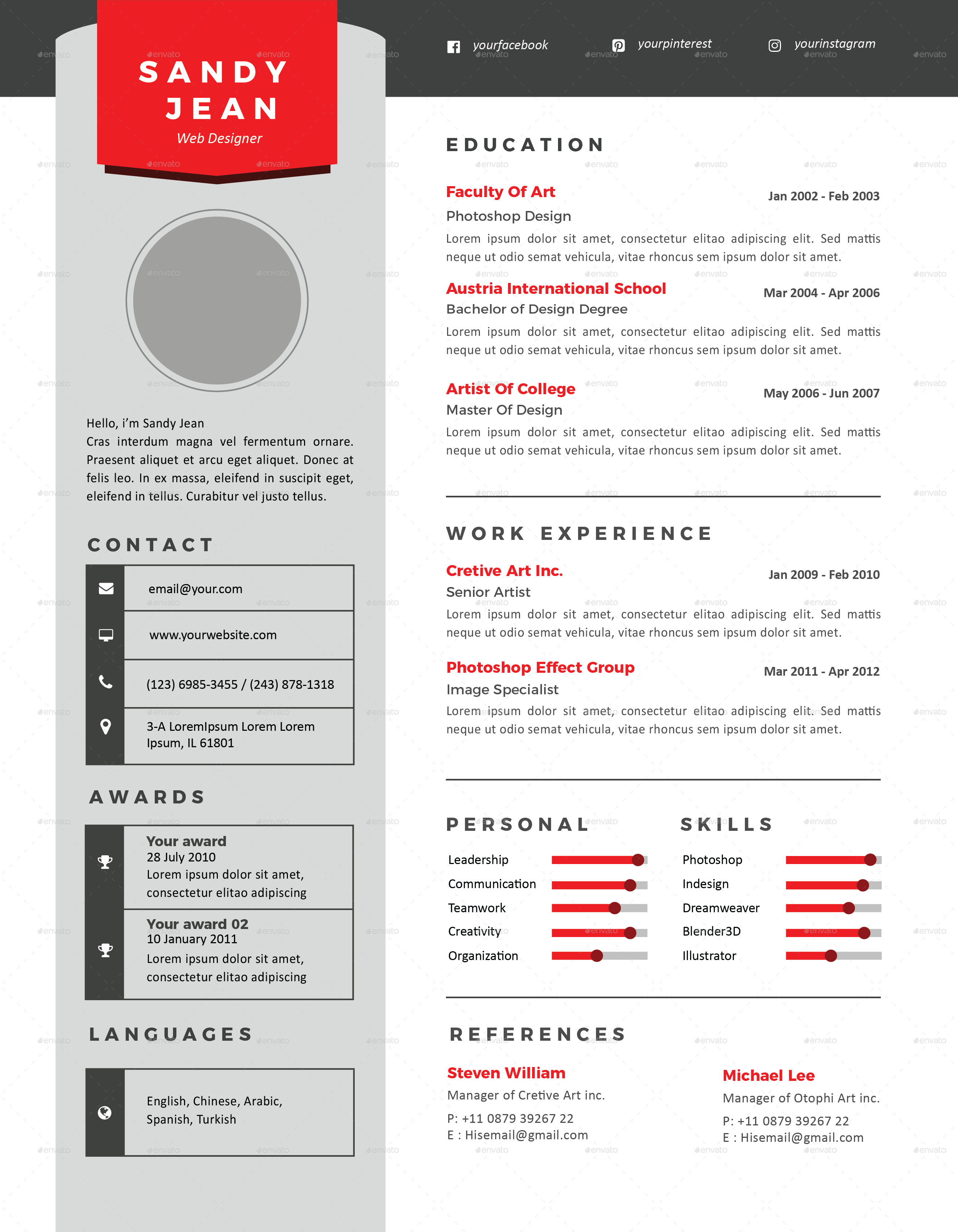 Clean Resume Cover Letter By Onewanku Graphicriver