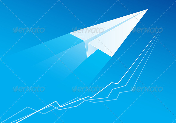 Flying Paper Airplane - Abstract Conceptual