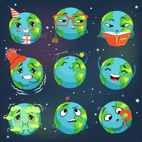 Earth Emoji Showing Different Emotions - Miscellaneous Characters