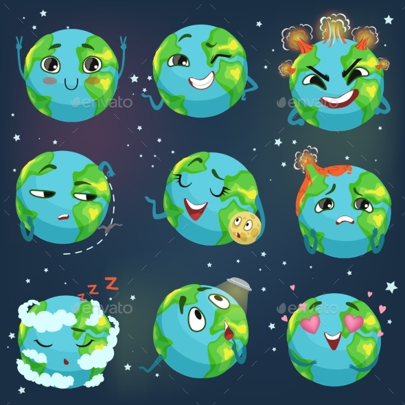 Earth Emoji Showing Different Emotions - Miscellaneous Vectors