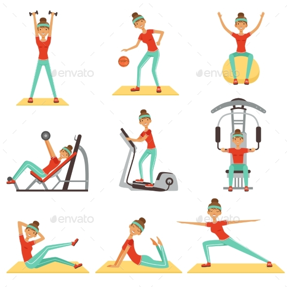 Fitness Woman Exercising in the Gym with Sports - Sports/Activity Conceptual