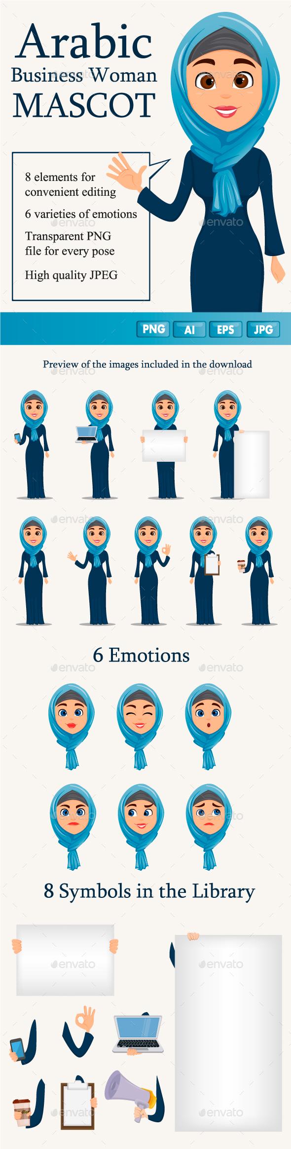 Mascot Arabic Business Woman - Characters Vectors