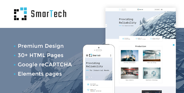 ThemeForest SmarTech Bootstrap Multipage Construction Company Website Template 20312071