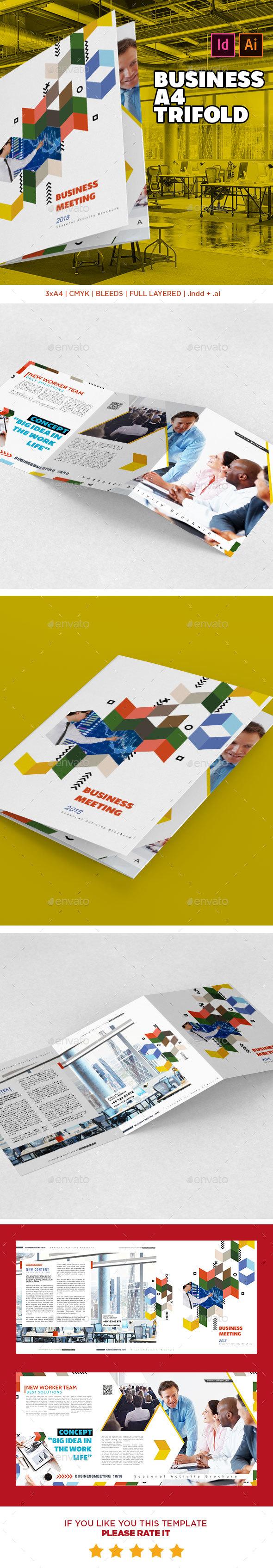 Business Tri-Fold Brochure Template 3xA4 - Corporate Brochures