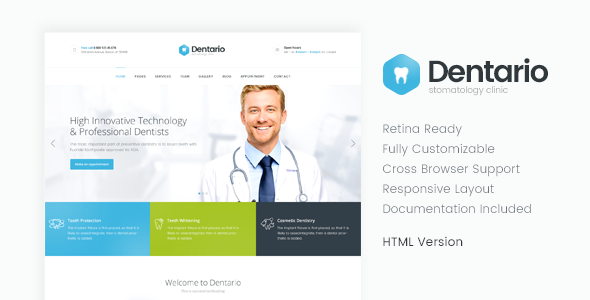 dentario dentist medical html template by themerex themeforest