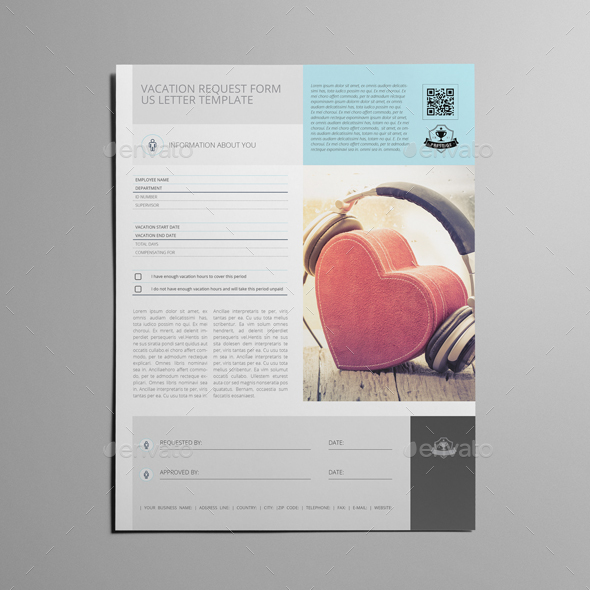 Vacation Request Form Us Letter Template By Keboto | Graphicriver