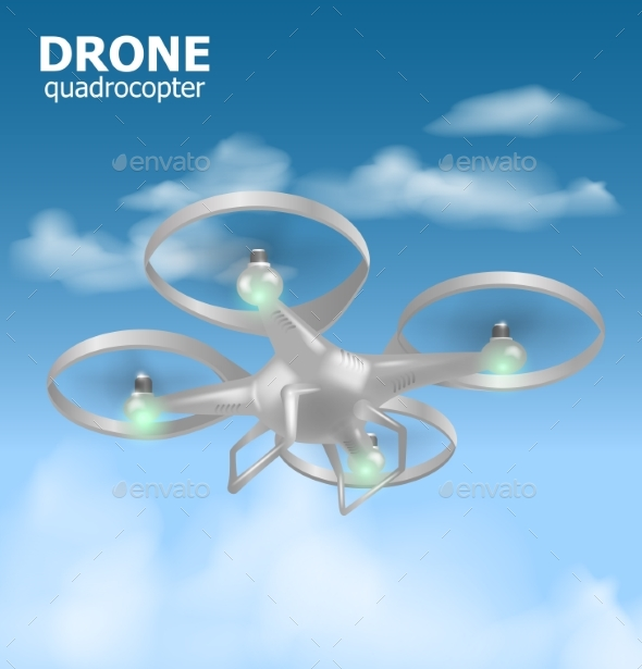 GraphicRiver Realistic Remote Air Drone Quadrocopter Flying 20313188