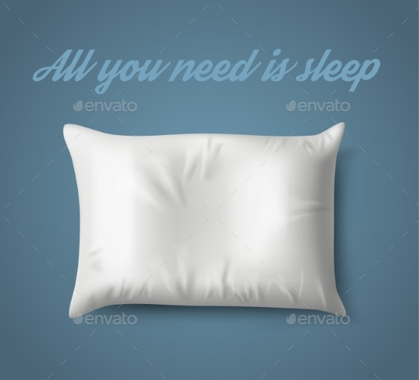White Pillow on Blue Background - Miscellaneous Vectors
