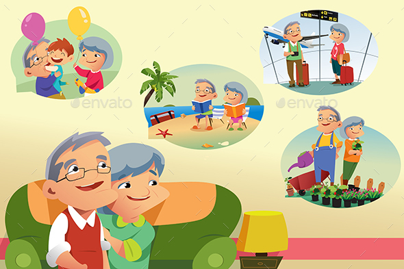 Senior Couple Thinking About Retirement Activities - People Characters