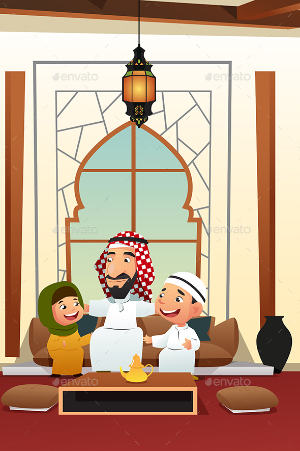 Muslim Arabian Man with His Children - People Characters