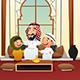 Muslim Arabian Man with His Children