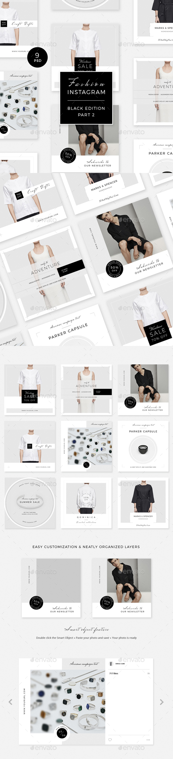 Fashion Instagram - Black Edition - Part 2 - Social Media Web Elements