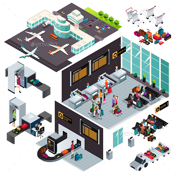 Isometric Design of an Airport - Buildings Objects