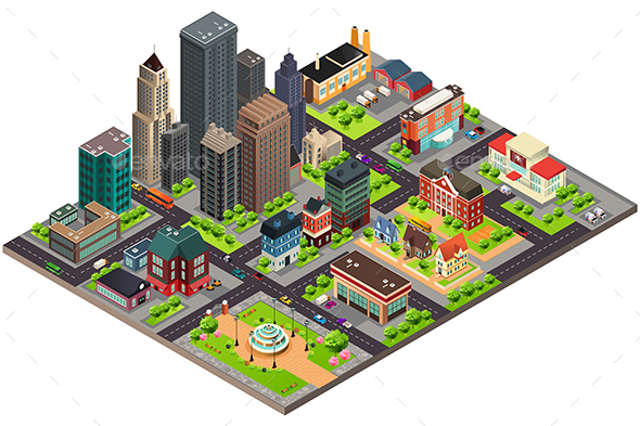 Isometric Design of City Streets and Buildings - Buildings Objects