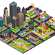 Isometric Design of City Streets and Buildings - GraphicRiver Item for Sale