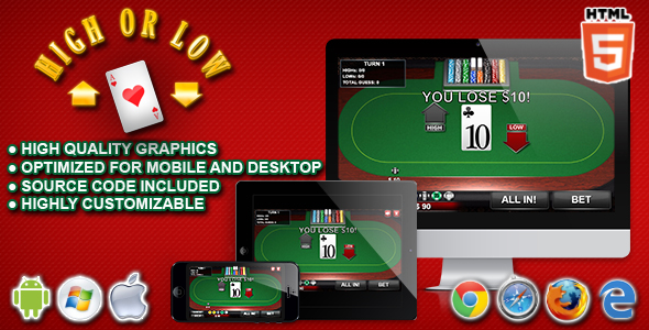 High or Low - HTML5 Casino Game nulled free download