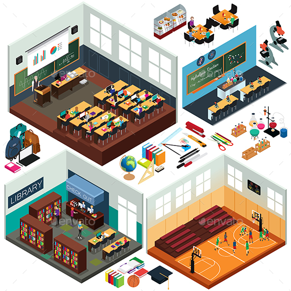 Isometric Design of School Buildings and Classrooms - Buildings Objects
