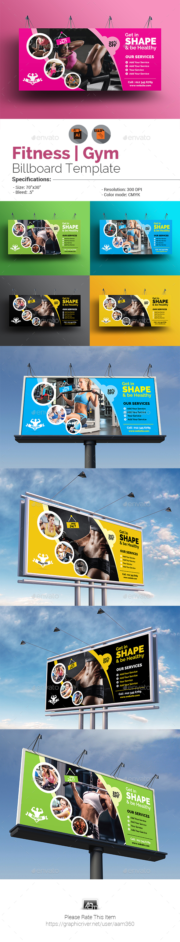 Fitness or Gym Billboard Template - Signage Print Templates