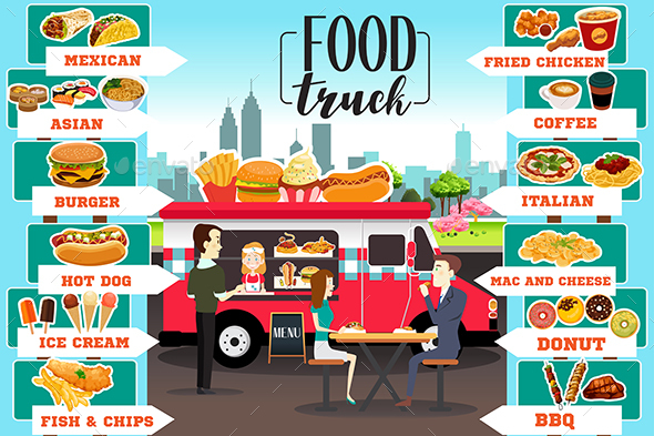 Food Trucks Infographics - Food Objects