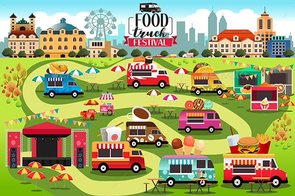 Food Trucks Festival Map - Food Objects