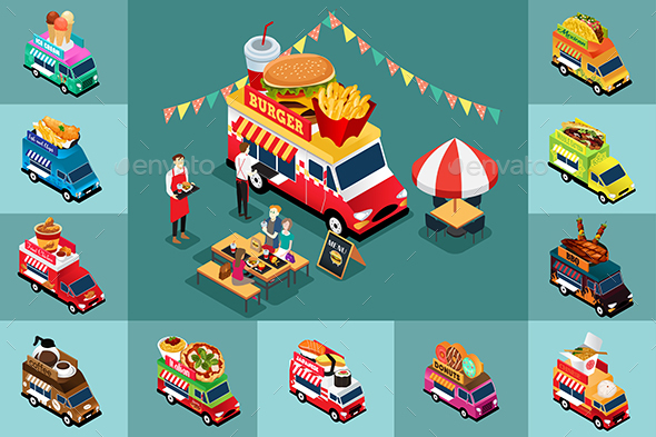 GraphicRiver Isometric Design of Different Food Trucks 20313568