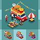 Isometric Design of Different Food Trucks - GraphicRiver Item for Sale