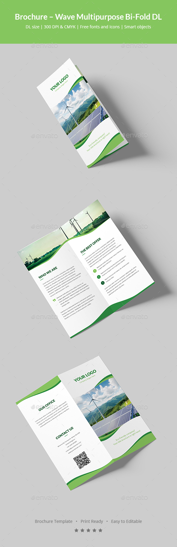 Paper windmills illustrator stock for Bi fold brochure template illustrator