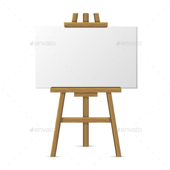 Wooden Easel with Blank Canvas on White Background - Miscellaneous Vectors