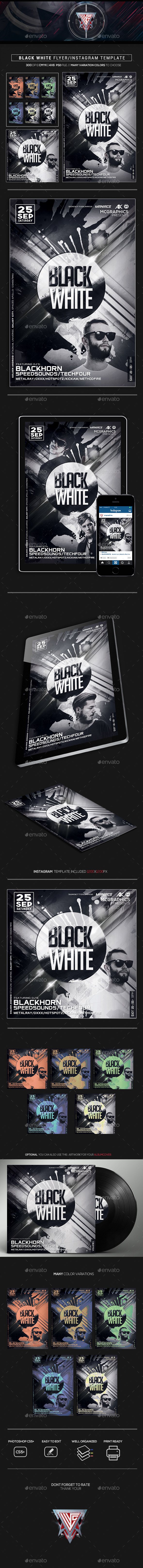 Black White Flyer/Instagram Template - Flyers Print Templates