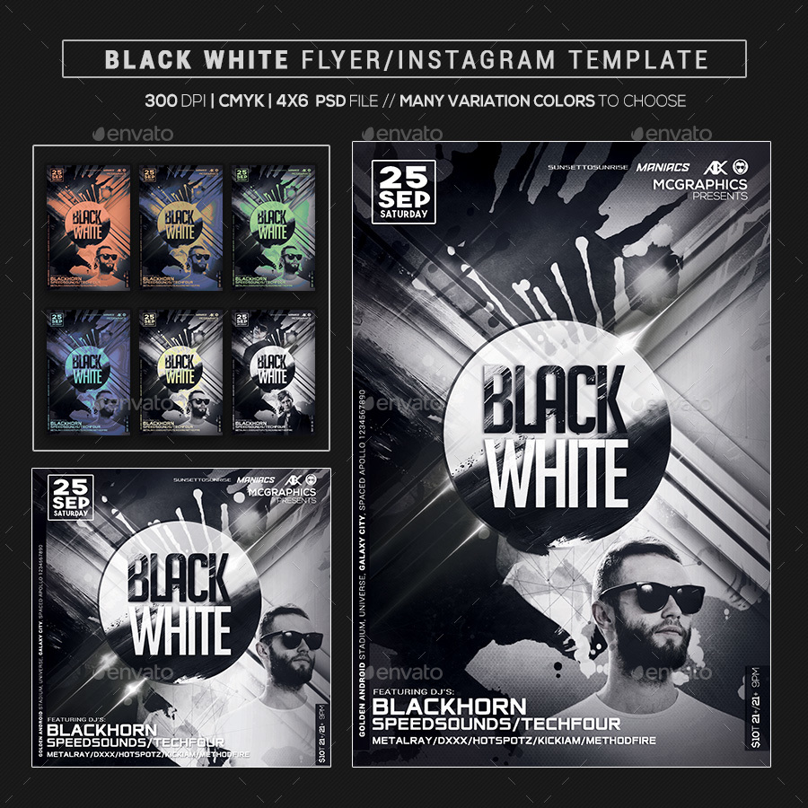 Black White Flyer/Instagram Template