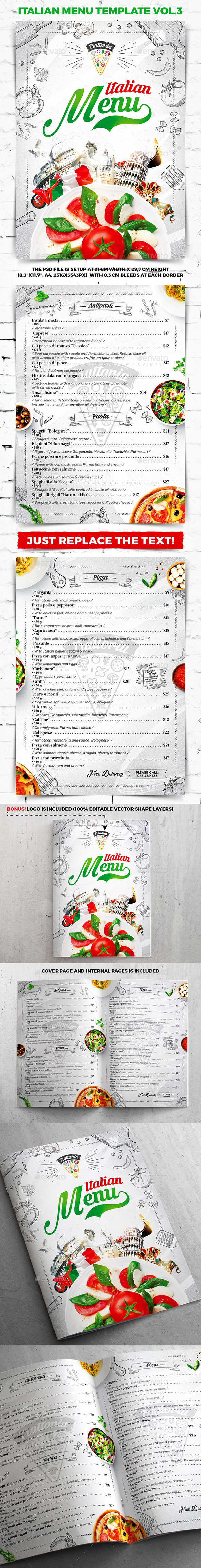 Italian Menu Template vol.3 - Food Menus Print Templates
