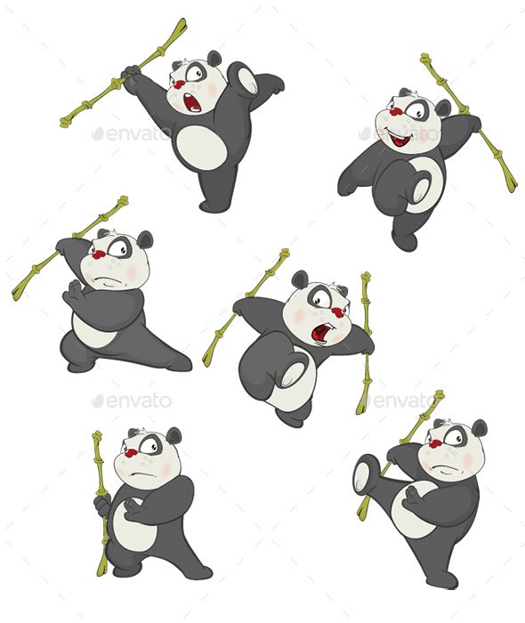 Set of Cartoon Funny Panda Bear for You Design - Animals Characters