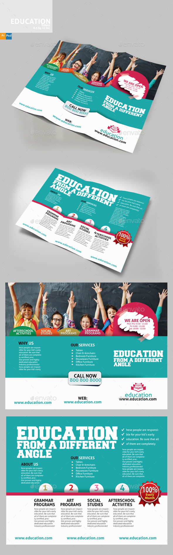 Education Three Fold - Brochures Print Templates