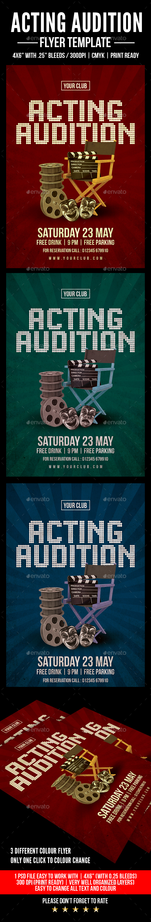 Acting Audition Flyer - Flyers Print Templates