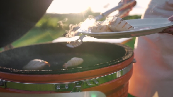 VideoHive Housewife Takes Hot Calamaries From the Grill and Put Them To the Plate Hot Sea Food Grill and 20314790